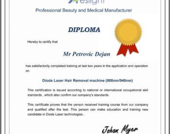 Sertifikat Diode Laser Hair Removal machine