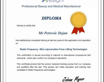 Sertifikat RF Skin rejuvenation Face Lifting Technologies