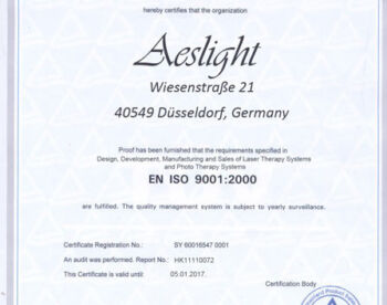 Sertifikat Sales of Laser Therapy Systems
